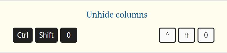 unhide columns